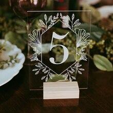 Акриловая каллиграфия, настольные номера с деревянным держателем, набор свадебных мероприятий, номер для душа, знак, персонализированный современный номер свадебного стола