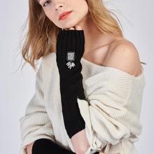 9742 без пальцев длинные черные перчатки свитера