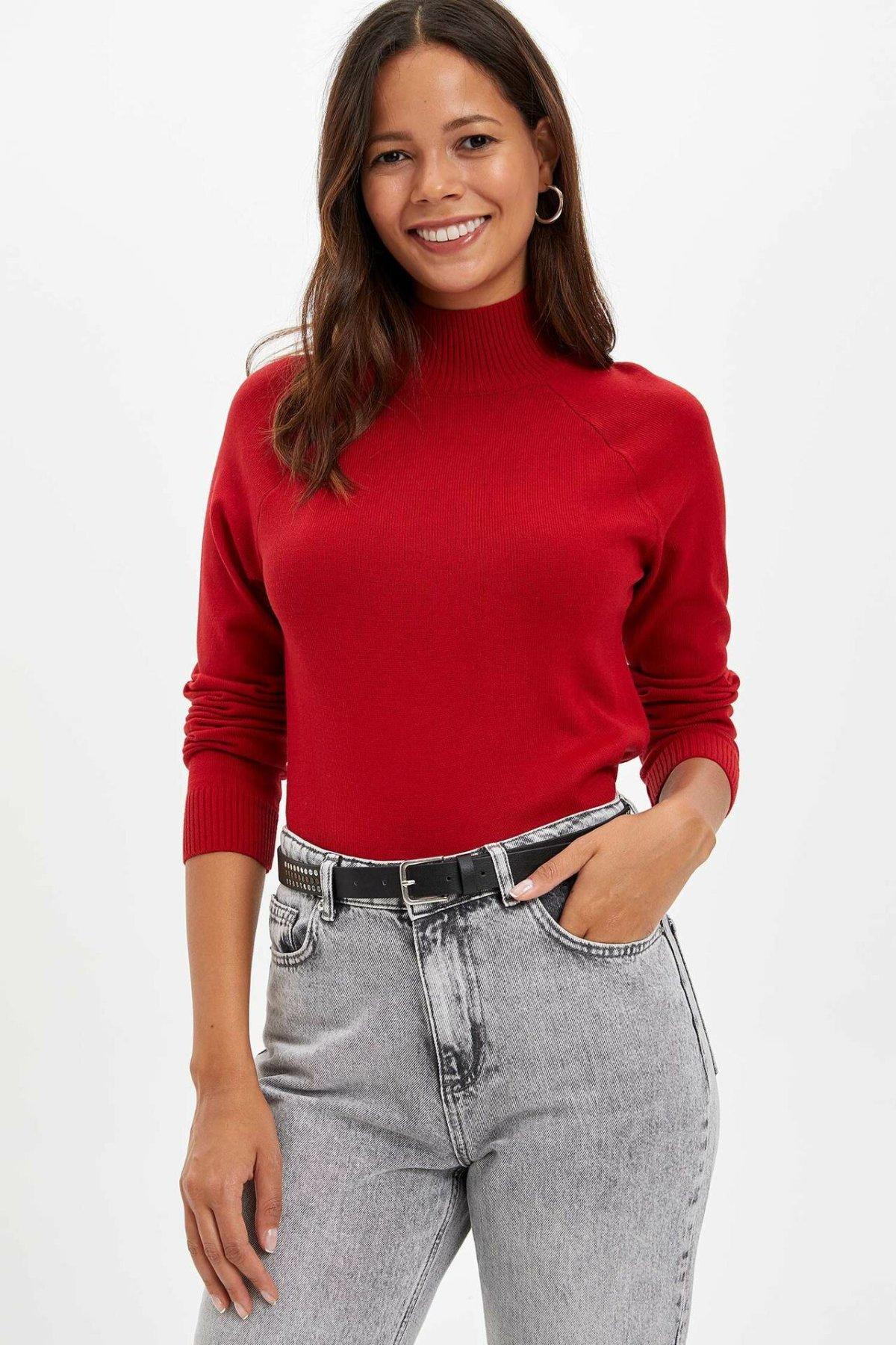 DeFacto Women Pure Fashion Turtleneck Casual Pullovers Slim Long Sleeve Simple Pullover Fashion Harajuku Tops-L0776AZ19WN-L0776AZ19WN