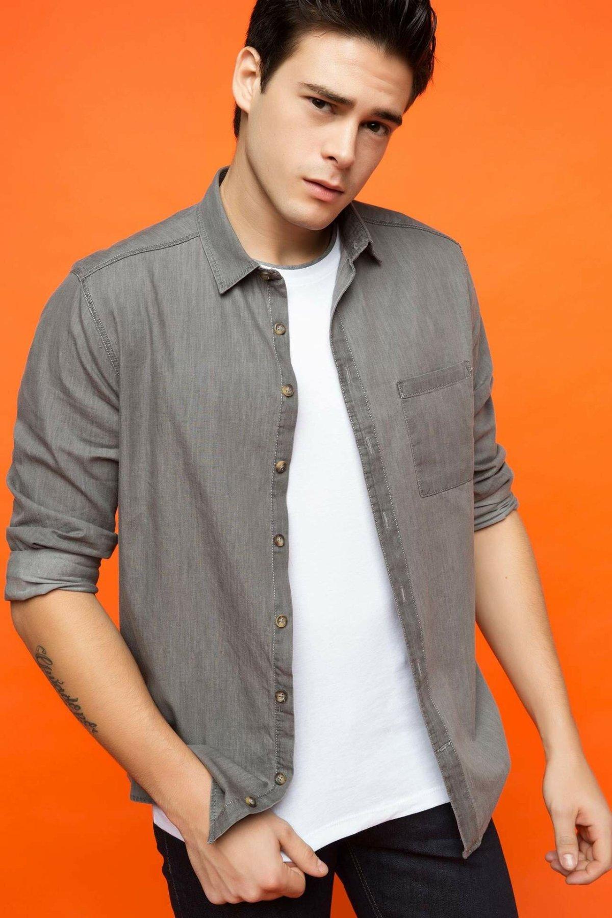 DeFacto Fashion Man Long Sleeve Shirt Men's Casual Cartoon Pattern Blouser Comfort Male Leisure High Quality Shirts- H5656AZ17SP