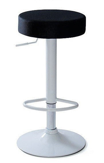 Stool CHEERY, White, Upholstered Black