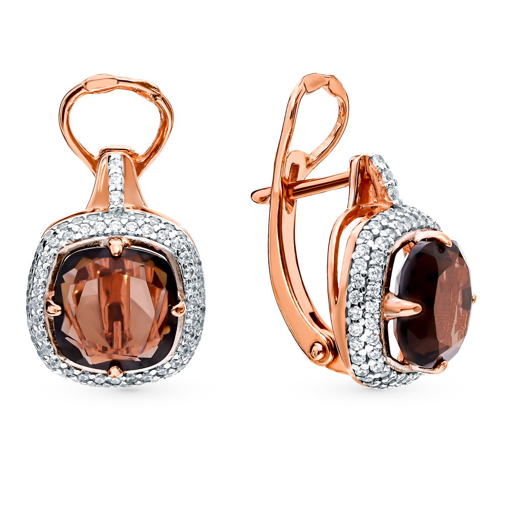 Silver Earrings With раухтопазами And Cubic Zirconia Sunlight Sample 925