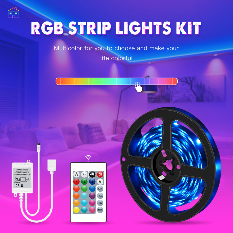 5M 10M 15M 20M RGB Led Strip Light 2835 5050 Flexible Ribbon DC 12V RGB Diode Tape with IR Remote Controller & Power Adapter