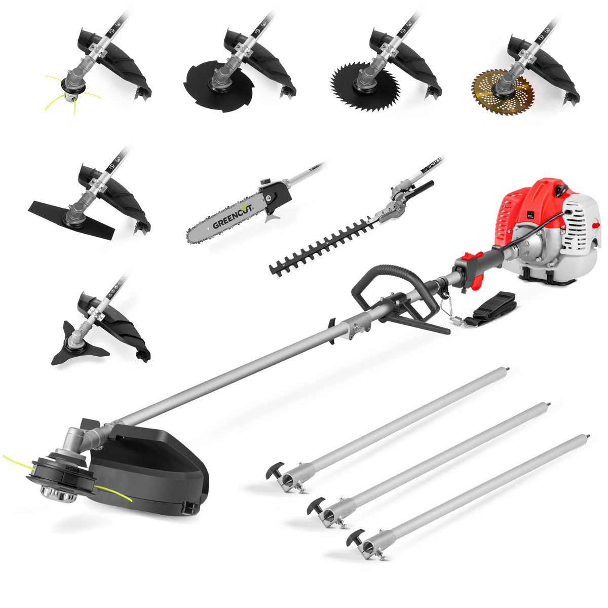 Tool Multifunction 9 In 1 GREENCUT, Gasoline 65cc, 9 Accessories, Brushcutter Function + Mower + Hedge