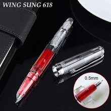 Wing Sung pluma estilográfica transparente con émbolo, pluma de tinta transparente, suave, fina, de 618mm, suministros escolares y de oficina, regalo de negocios, 0,5