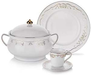 Schafer Lace Dinner Set - 85 Pieces - Gold/Material Type Porcelain