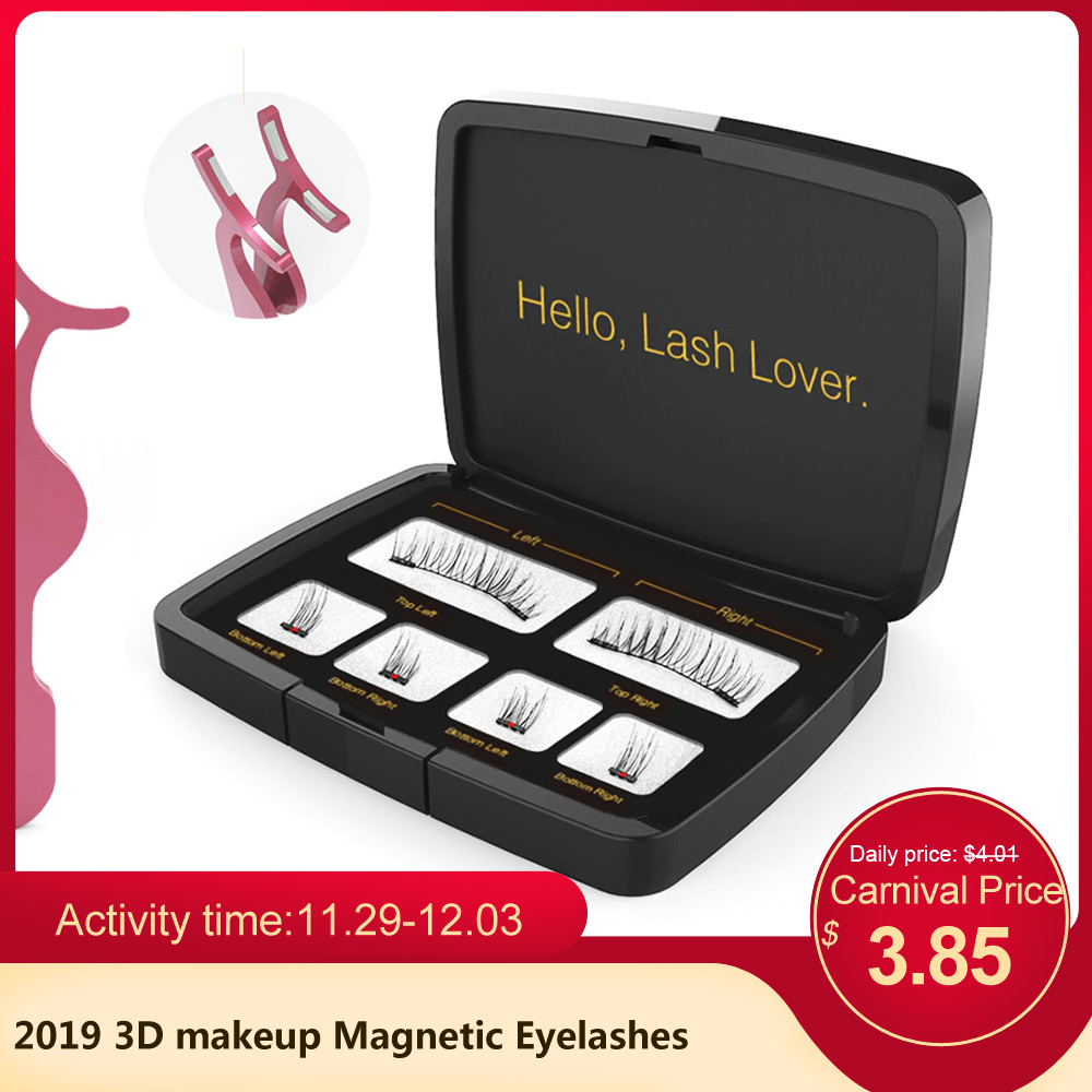 2019 3D makeup Magnetic Eyelashes Mink Lashes Full Strip Lashes Tweezers Double Magnet Fake Eye Lashes False make up Eyelashes