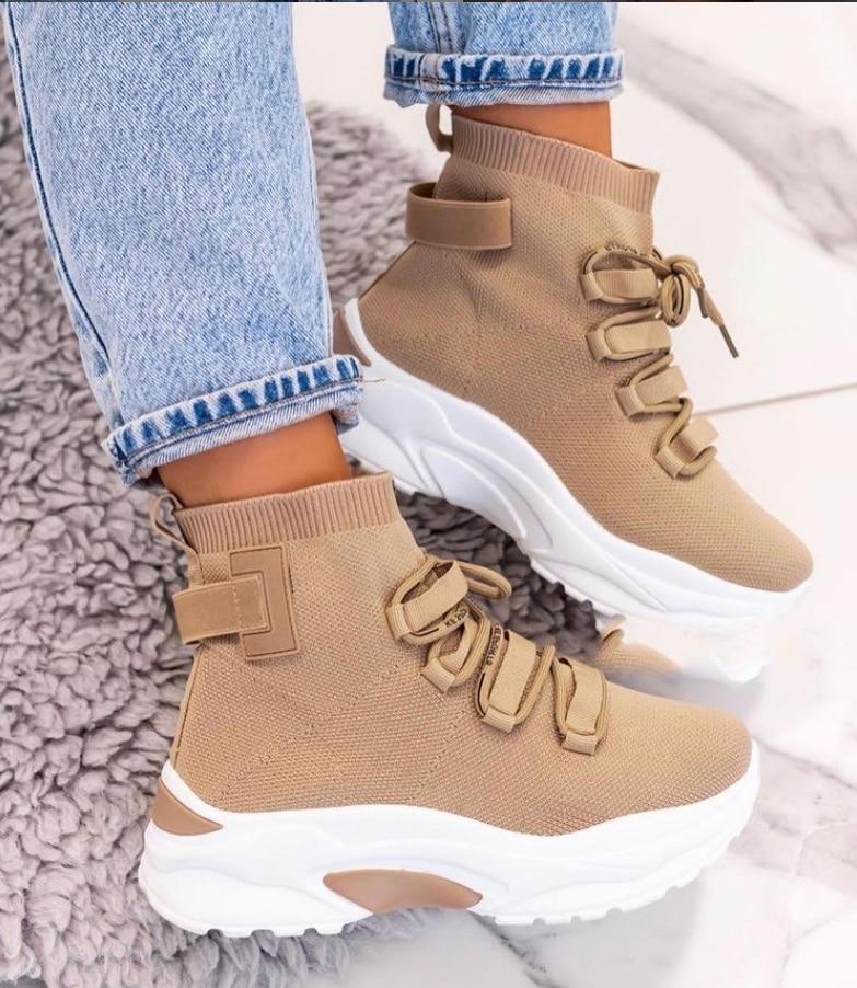 Hemera Studios Zapatillas Tipo Calcetín Mujer Deportivo Botín 2021 Calzados Cómodos tejido cámara de aire sneakers multicolor|Zapatos vulcanizados de mujer| - AliExpress