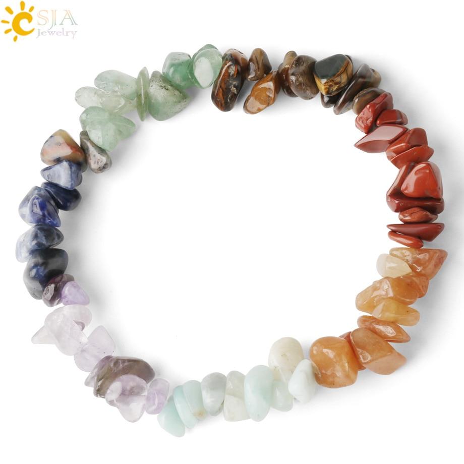 CSJA Reiki Natural Stone 7 Chakra Bracelets Healing Crystal Bracelet Chipped Gravel Beads Gifts for Women 2020 Pulseras G295