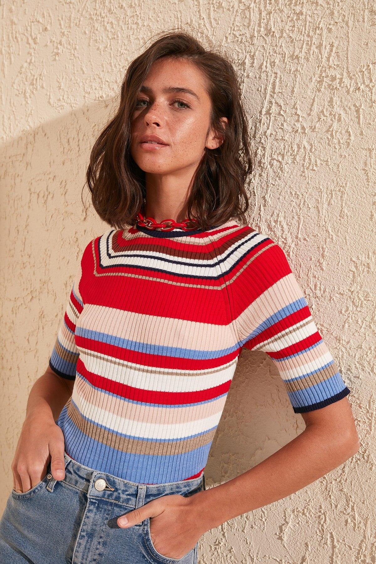 Trendyol Striped Knitwear Sweater TWOSS20KZ0071
