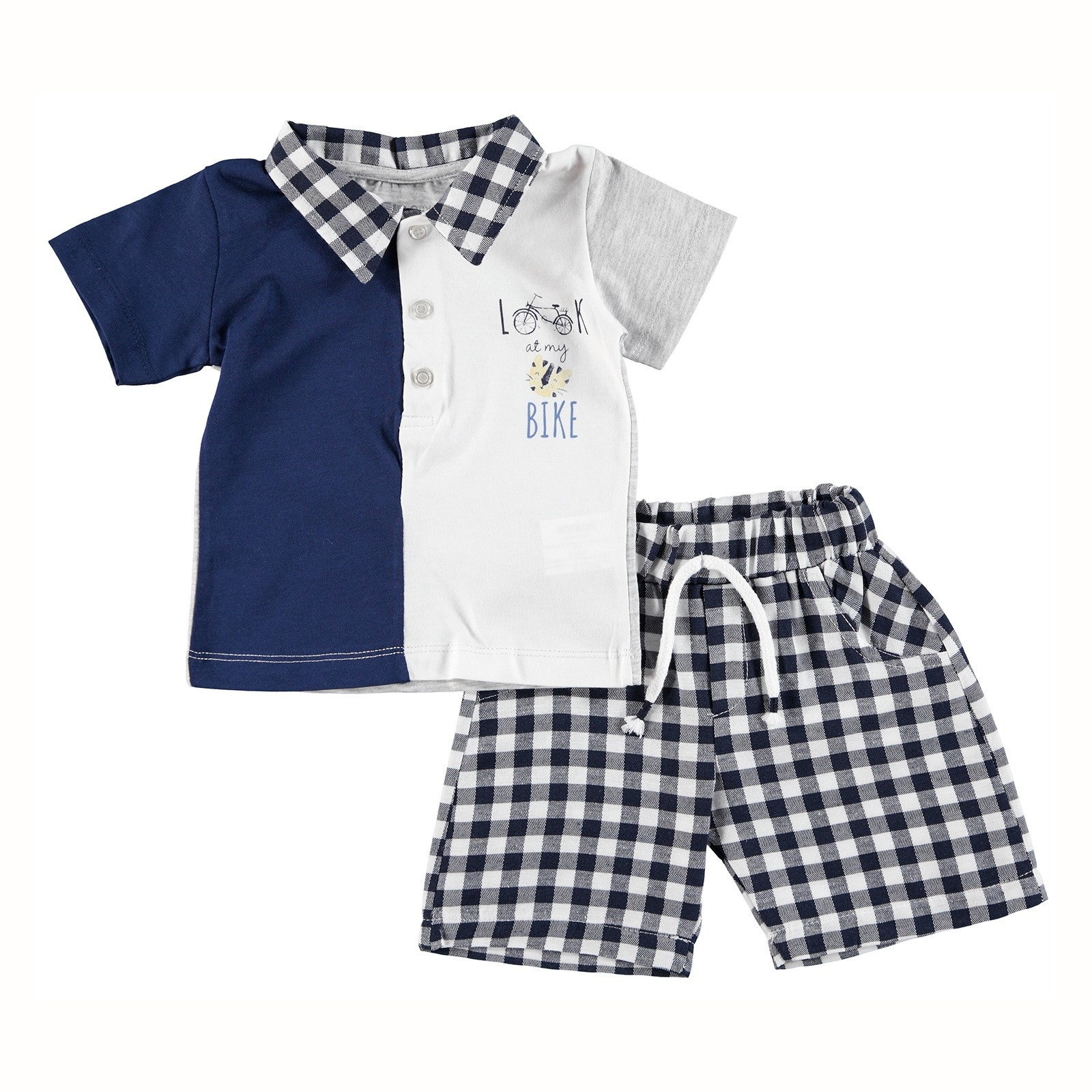 Ebebek HelloBaby Baby Boy Bike Theme Polo Neck Tshirt Short Set