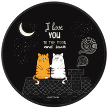 EXCO Couple Cats Gaming Mouse Pad Round Mousepad Durable Non-slip Rubber Mouse Mat Waterproof Computer Game Mouse Mat 22*22 cm