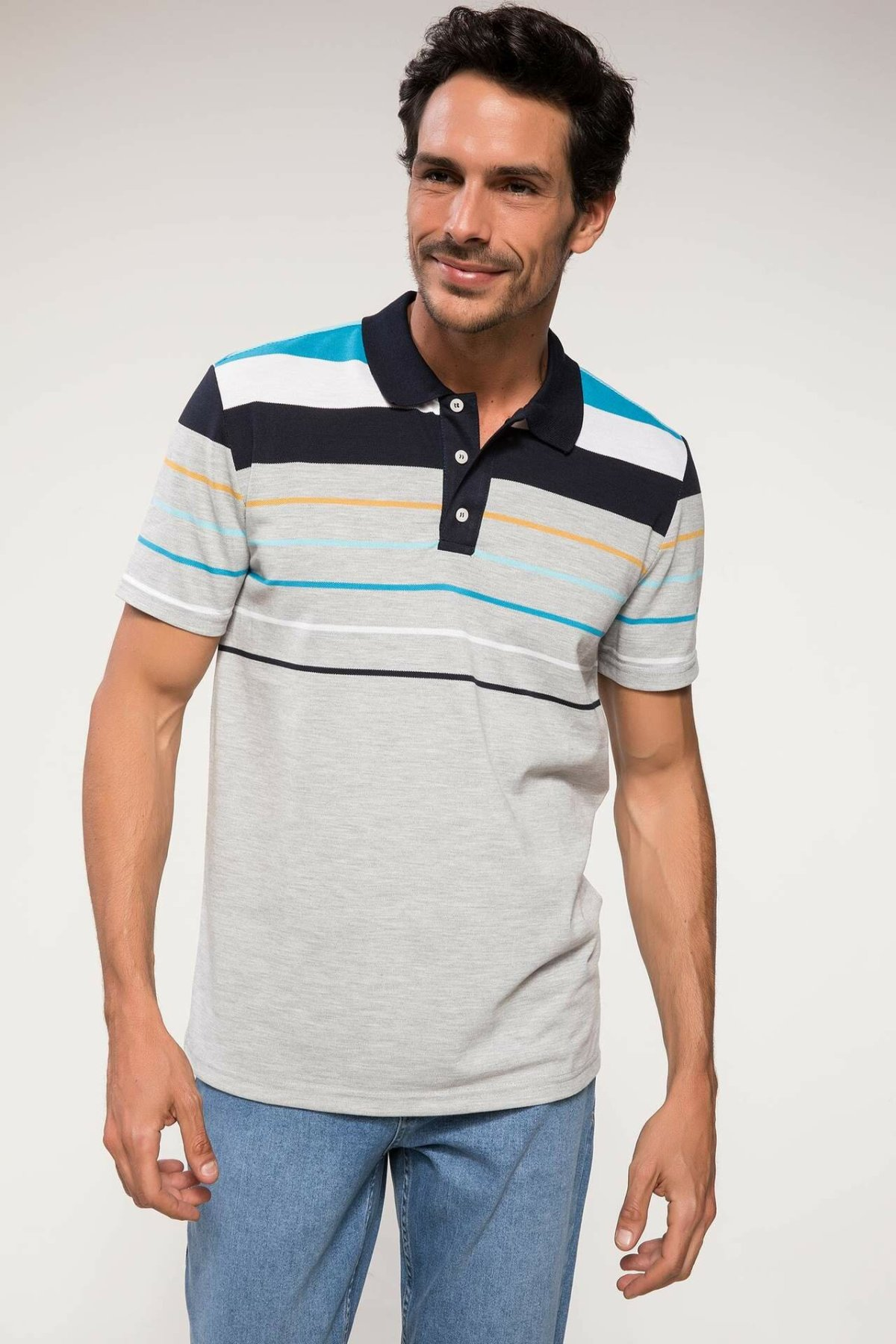 DeFacto New Man Fashion Polo Shirt Male Casual Striped High Quality Shirt Men's Sport Loose Tops Summer - I8524AZ18SM
