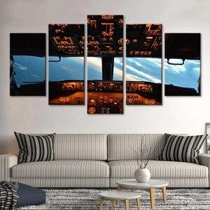5 шт. Современные Настенные рисунки самолет в кабине картина домашний декор небо вид для Гостиной Холст плакат искусство