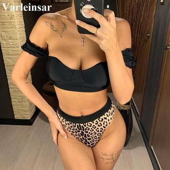 2020 Sexy Black Off Shoulder Bra Swimsuit High Waist Bikini Women Swimwear Two-pieces Bikini set Bather Bathing Suit Swim V1847 4
