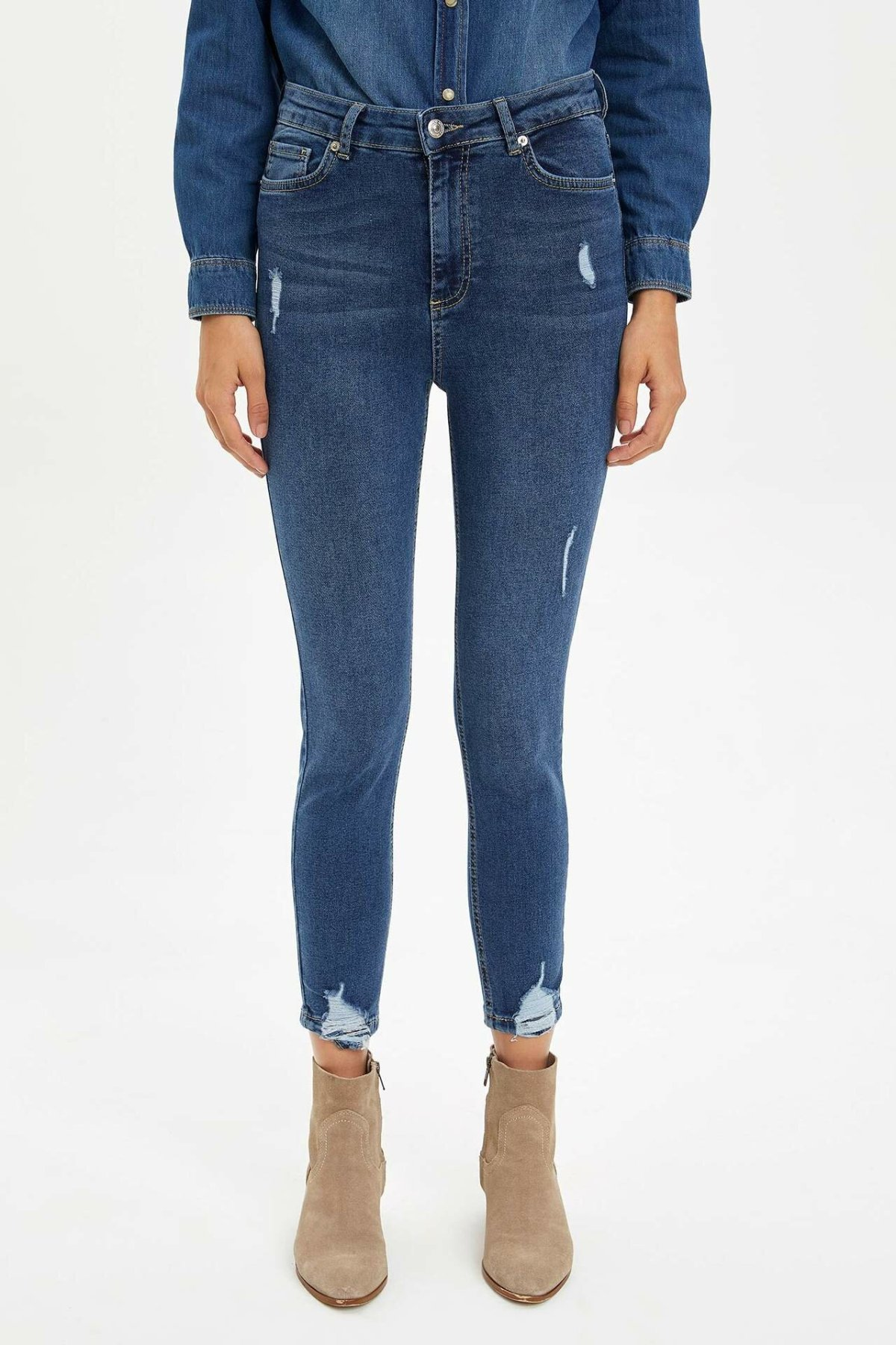 DeFacto Woman Fashion Pencil Trousers Female Casual Mid-waist Skinny Jeans High Quality Joker Pants New - M9521AZ19WN