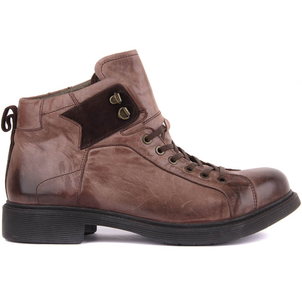 Sail Lakers-Brown Leather Lace-Up Men Boots