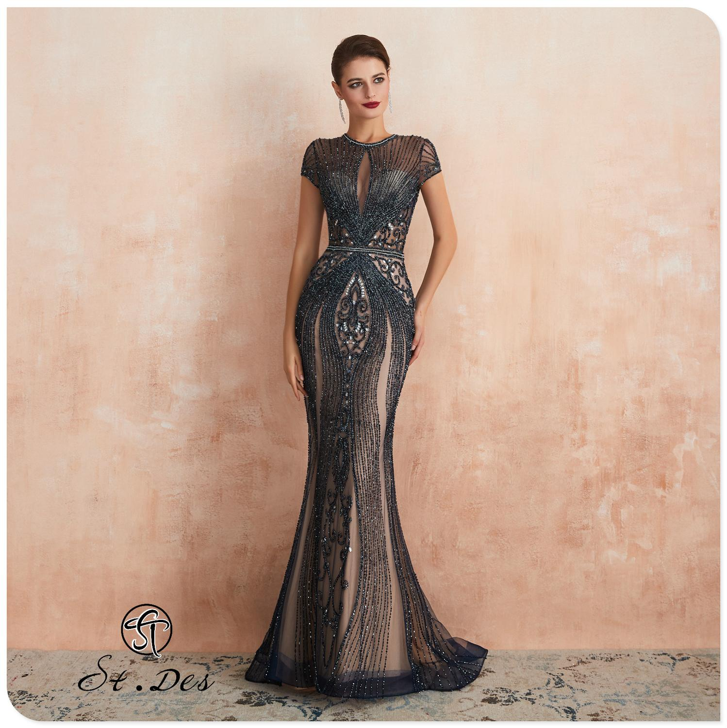 NEW 2020 St.Des Mermaid O-Neck Russian Champagne Grey Sequins Beading Designer Floor Length Evening Dress Party Dress Party Gown