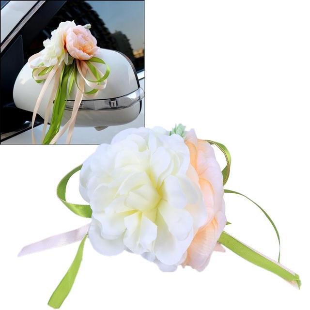 רכב חתונה קישוט פרח 10 צבעים דלת ידיות Rearview מראה חתונה ידית לקשט מלאכותי פרח לחתונה
