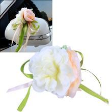 Manijas de puerta para espejo retrovisor, decoración de coche de boda, flor Artificial, 10 colores