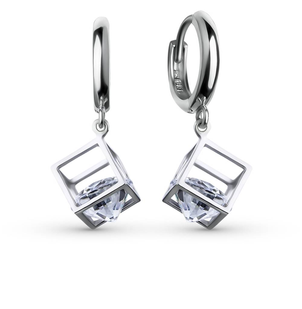 Jewelry Silver Earrings With Cubic Zirconia SUNLIGHT Test 925 Women's, Female