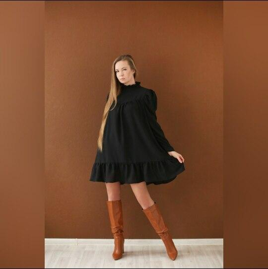 Hot 2019 autumn new fashion women's temperament commuter puff sleeve small high collar natural A word knee Chiffon dress reviews №3 342860