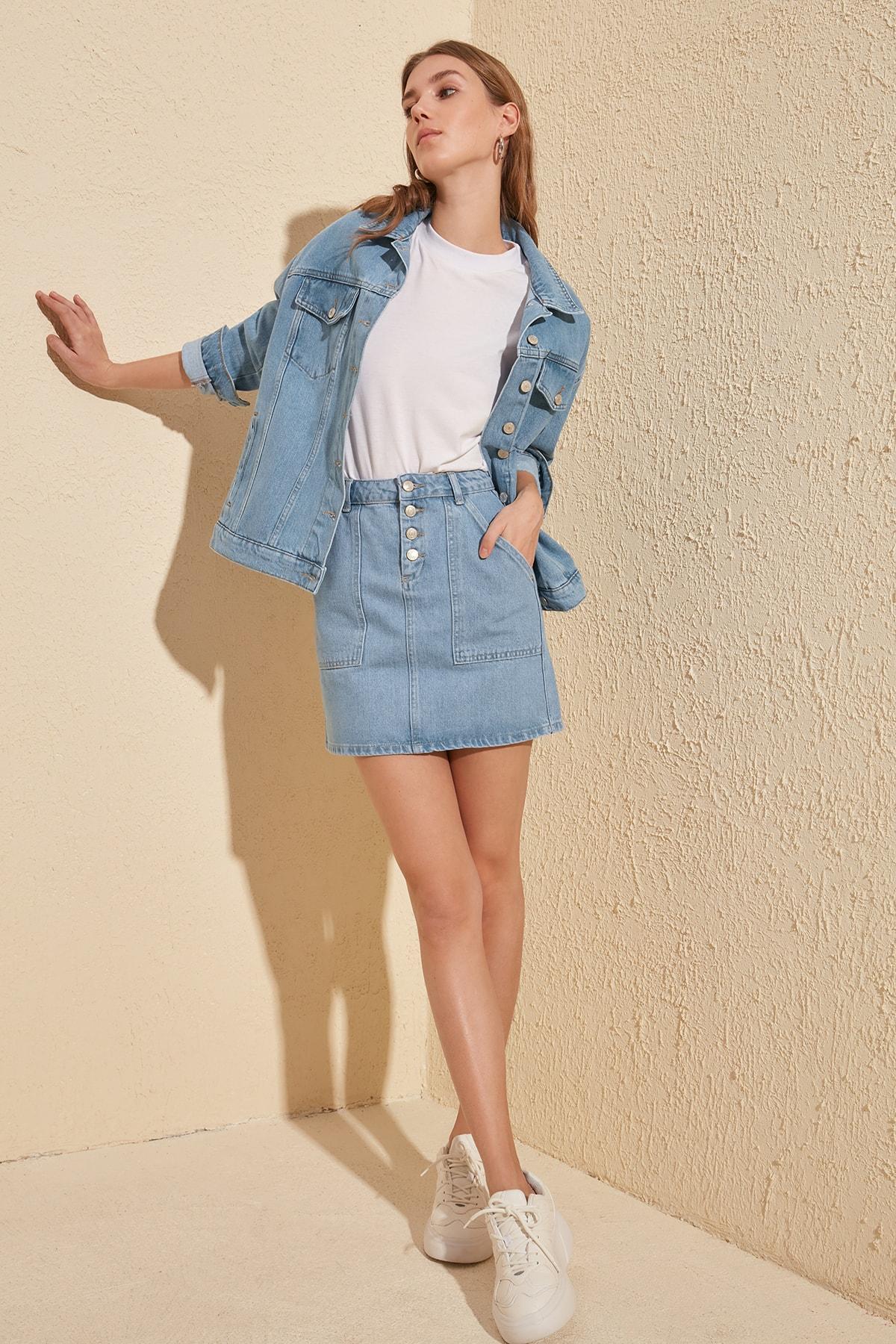 Trendyol Front Button Denim Skirt TWOSS20ET0055