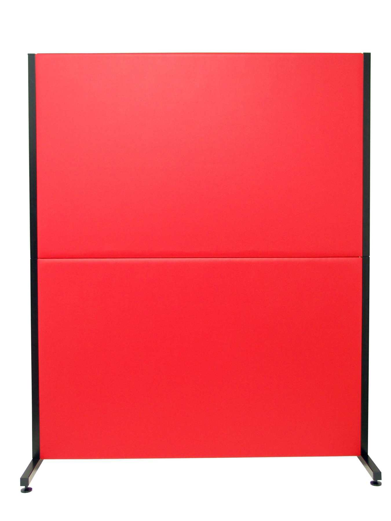 Room Divider Screen For Offices And Work Centres, Detachable And With Color Structure Black-Upholstered In Similpiel
