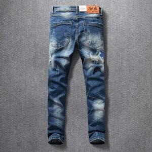 Image 3 - American Streetwear Fashion Men Jeans Elastic Slim Fit Ripped Denim Pencil Pants Homme Patches Designer Stretch Hip Hop Trousers