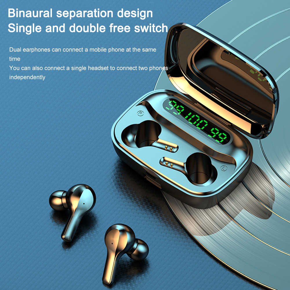 Ubeamerหูฟังบลูทูธหูฟังไร้สายกีฬาหูฟังกันน้ำ 2000MAh Power Bankชุดหูฟังพร้อมไมโครโฟนสำหรับPC/โทรศัพท์