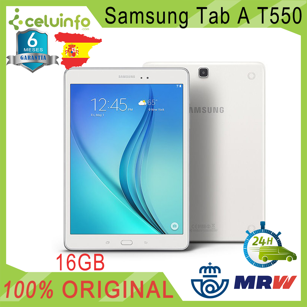 Tablet Samsung Galaxy Tab A T550 9.7 WiFi 16 hard gb White very good furniture Quality state B, worn, 6 Months warranty Sent from Spain image