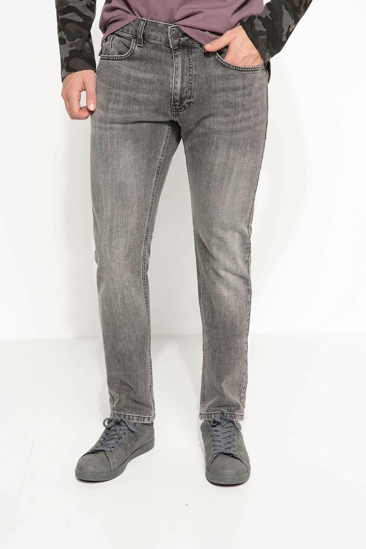 DeFacto Man Washed Denim Jeans Men Straight Mid-waist Long Denim Pants Trousers Male Pockets Bottoms-H2470AZ17AU