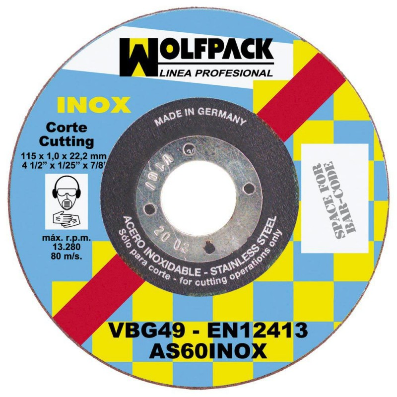 Cutting Disc Abrasive Stainless 115x1,6X22,2mm.