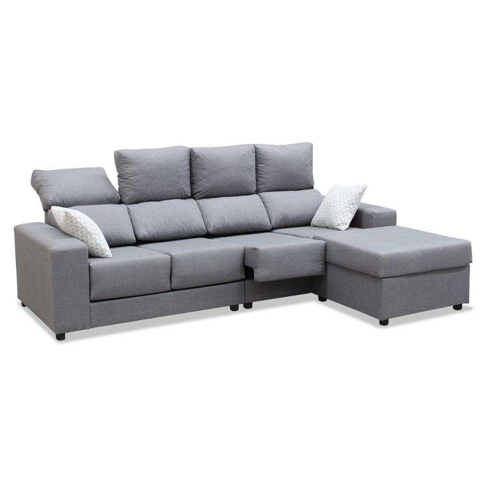 Sofa Chaise Longue, 4 Seater, CLIMB A DOMICILE, Color Grey, Ref-126