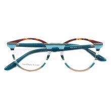 Women Round Eyeglass Frames Men Vintage Fashion Glasses Frames Spectacles Prescription Eyewear Blue Pink Red Eyeglasses Frames