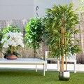 Искусственное растение, семейные деревья с натуральными стволами, для украшения дома, бамбук, резиновое растение, Глициния, оливковое, эвка...