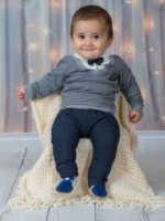 Conjuntos formales de corbatín de caballero con parte superior inferior para bebés, conjunto para bebés de algodón cómodo e informal, chándal de 2 piezas con estilo moderno, modelo de traje