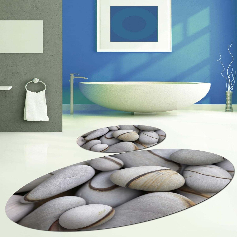 Else สีเทาสีน้ำตาล Pebble หินรูปไข่ 2 Pcs 3D รูปแบบพิมพ์เสื่ออาบน้ำ Anti SLIP Soft Washable ห้องน้ำห้องน้ำพรม