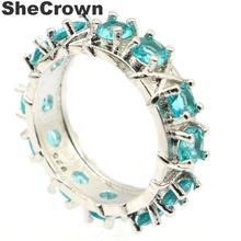 24x7mm Beautiful Created Rich Blue Aquamarine Rhodolite Garnet Gift For Ladies Silver Rings