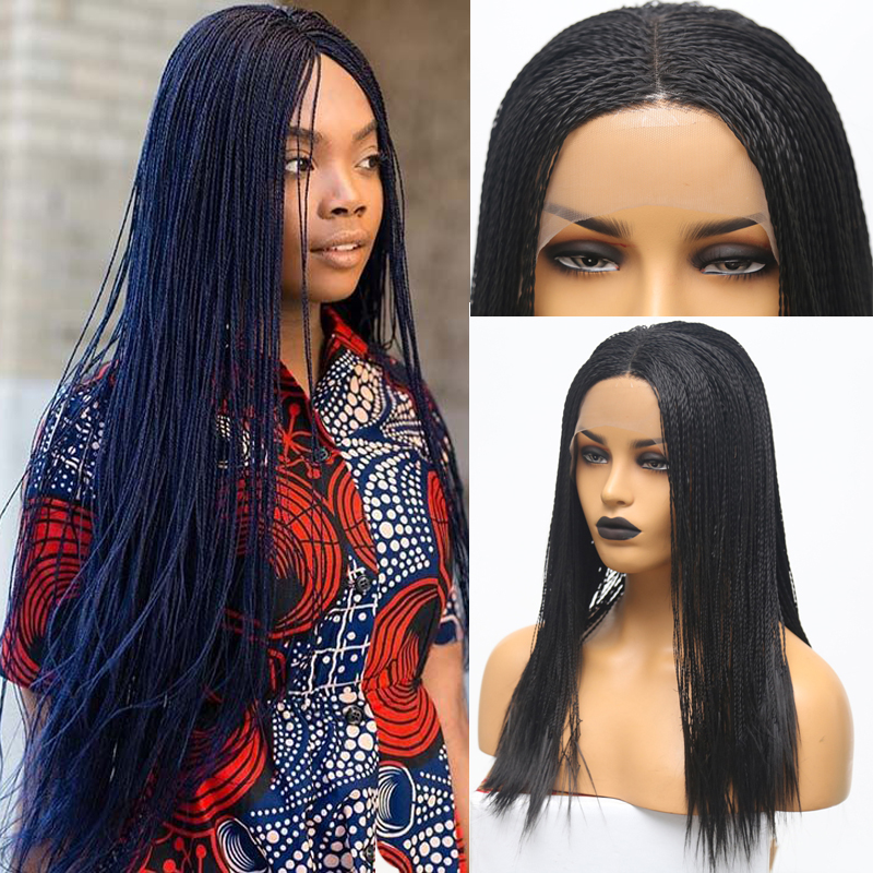 RONGDUOYI Black High Temperature Fiber Synthetic Hair Lace Front Wigs For Women 900Pieces 2x Twist Braided Lace Braids Wig