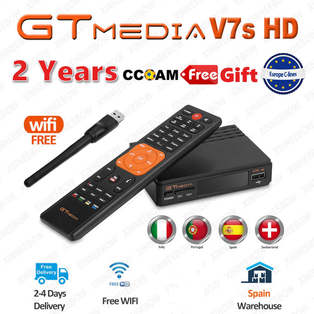 Ale DVB-S2 récepteur TV Satellite Gtmedia V7S HD 1080P avec prise en charge USB WIFI YouTube 1 an Cccam cline gratuit de Freesat v7