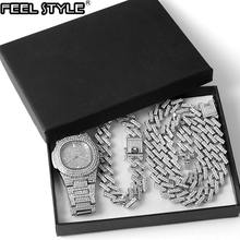 Часы + цепочка браслет в стиле хип хоп украшенные кристаллами