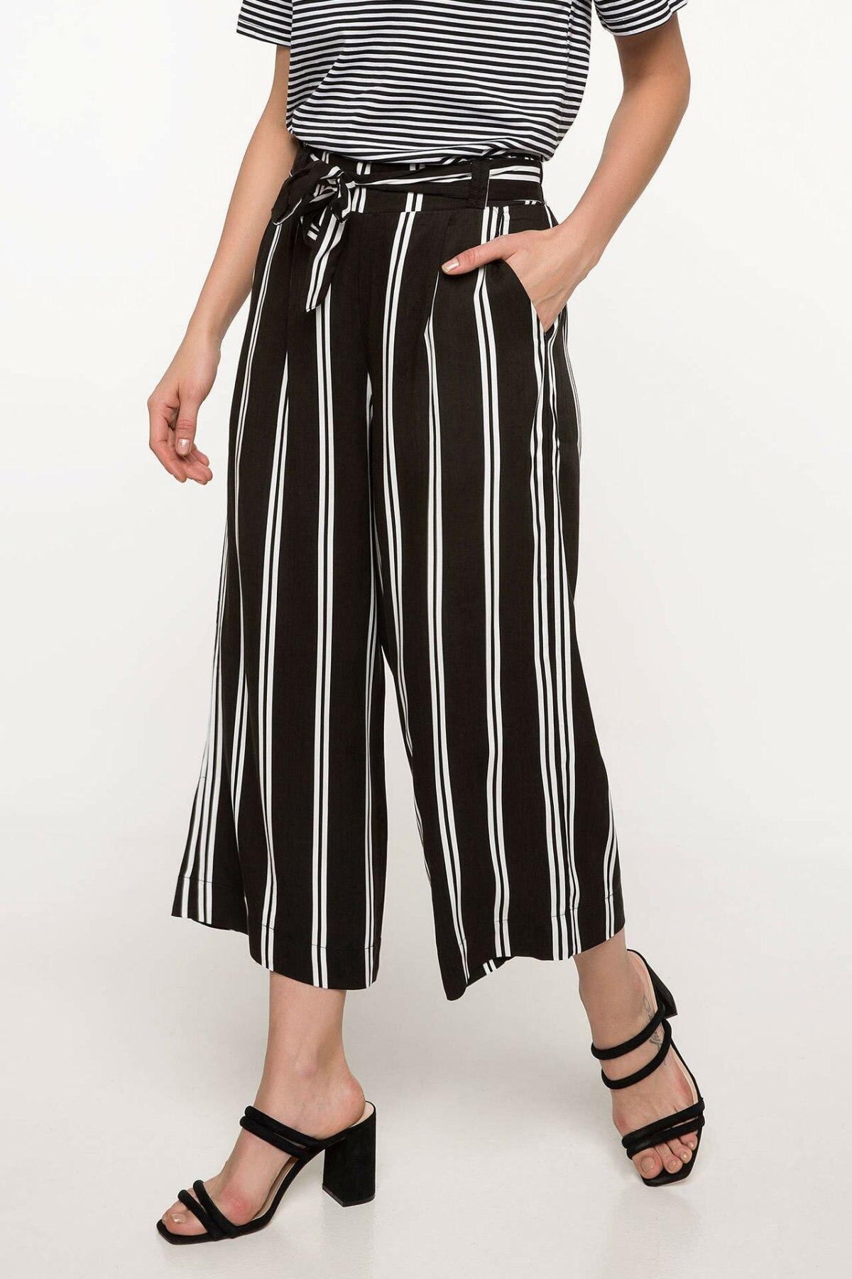 DeFacto Fashion Woman Elegant Trousers Female Striped Wide-leg Crop Pants Ladies Casual Belts Comfort Spring - I7722AZ18SM