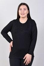 Women's Front Button Black Blouse 125