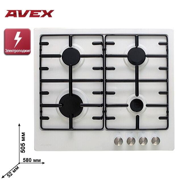 Встраиваемая варочная панель AVEX HS 6040 W, поверхность белая эмаль, электро-поджиг, решетки металл