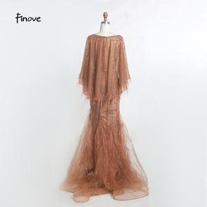 Image 2 - Finove בציר שמלת ערב ארוך 2020 חדש נובל שמפניה בת ים שמלת O צוואר חרוזים נוצות עם גלימת מסיבת שמלות בתוספת גודל