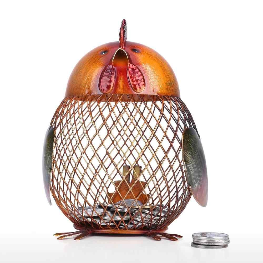 Hucha tooart Metal artesanía Animal estatuilla hogar Decoración Año nuevo regalo para niños dinero Banco Caja de dinero para niños banco de monedas
