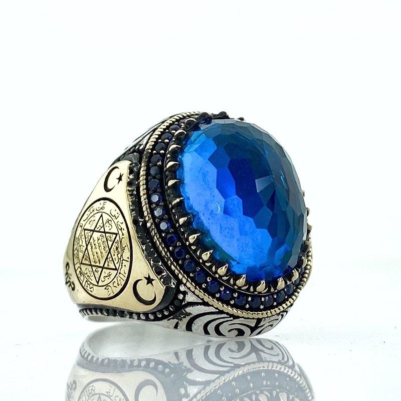 Sapphire Blue Topaz Stone Seal Of Solomon David Star Silver Ring