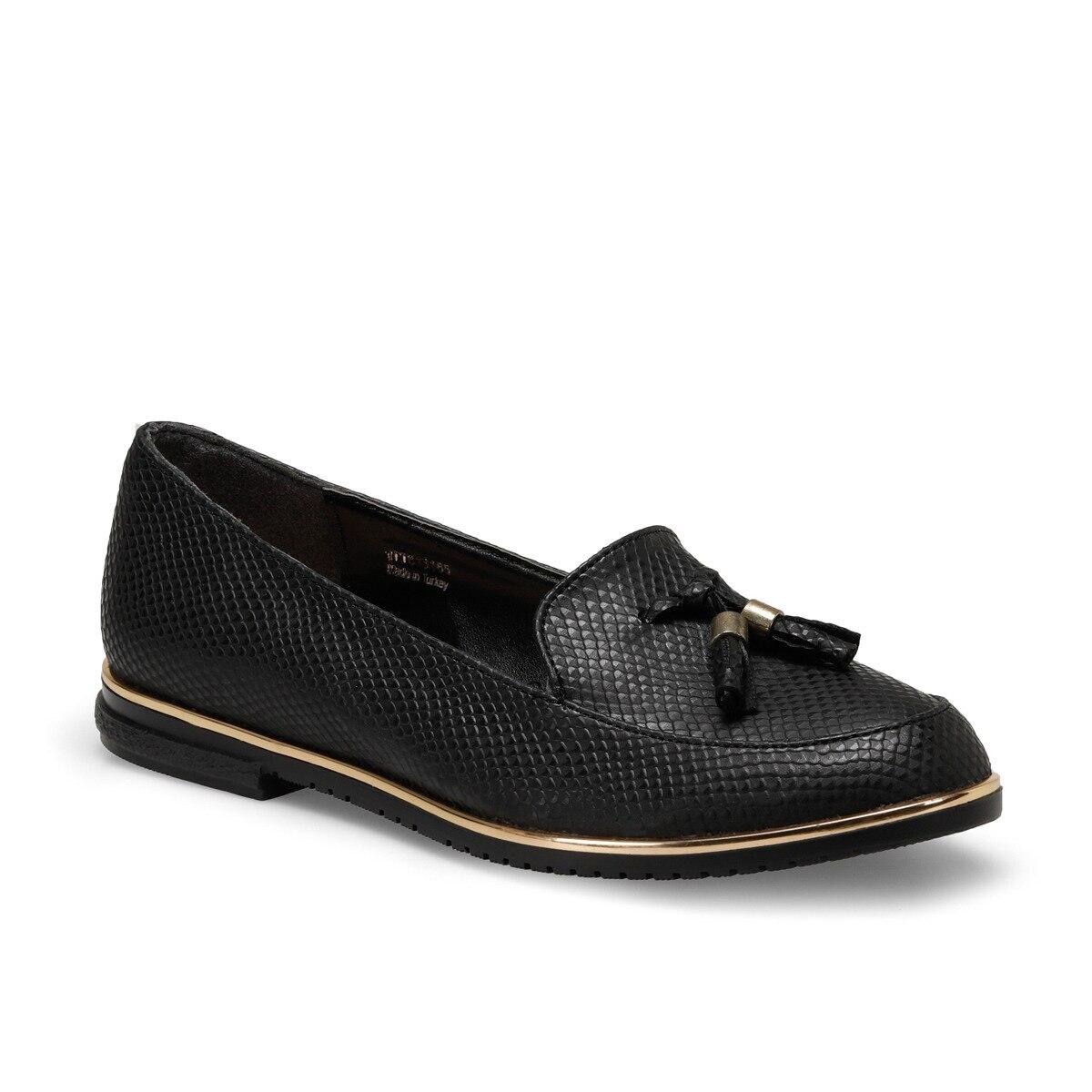 FLO DS18019-19IY Black Women Loafer Shoes BUTIGO