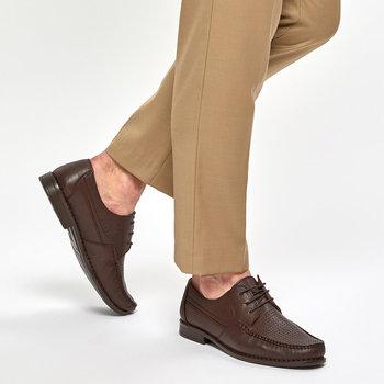 FLO 91 108825 M brązowe męskie klasyczne buty Polaris 5 punktów tanie i dobre opinie Polaris 5 Nokta Sztuczna skóra